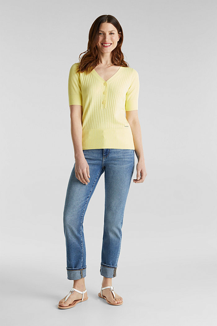 With linen: jumper with a button placket, LIME YELLOW, detail image number 1
