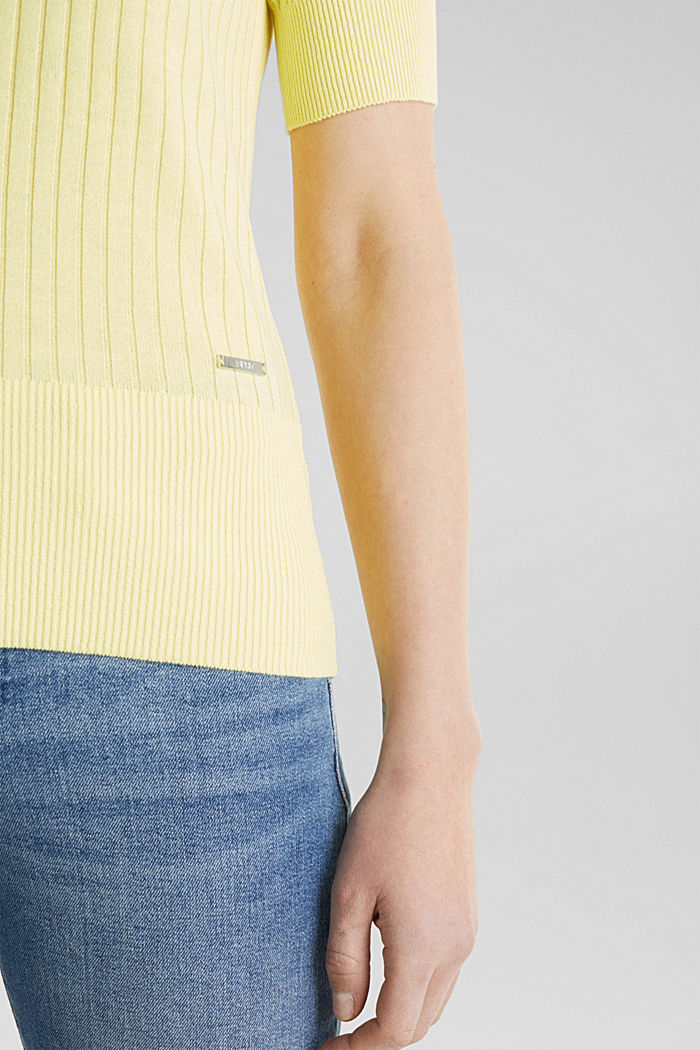 With linen: jumper with a button placket, LIME YELLOW, detail image number 4
