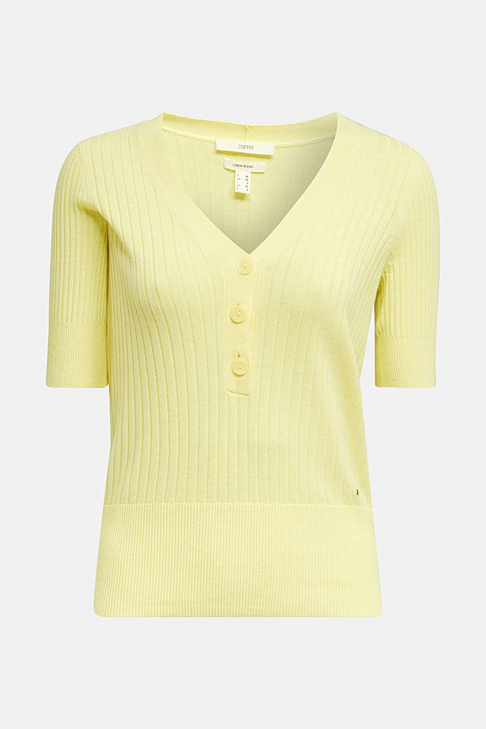 With linen: jumper with a button placket, LIME YELLOW, detail image number 6