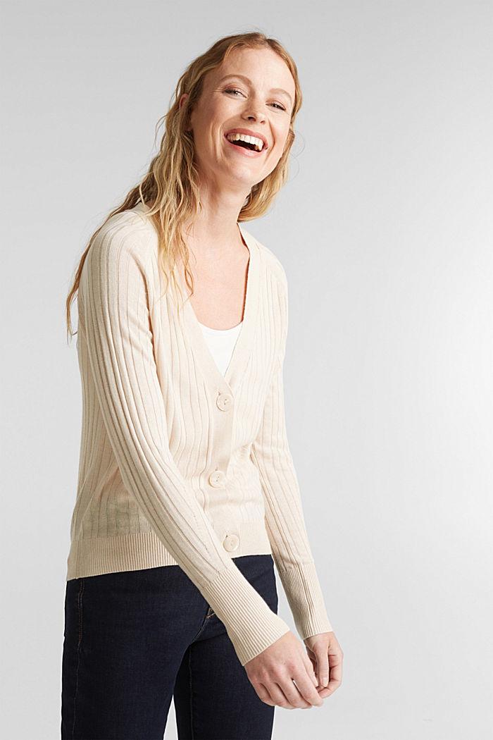 Linen blend: Rib knit cardigan, SAND, detail image number 0