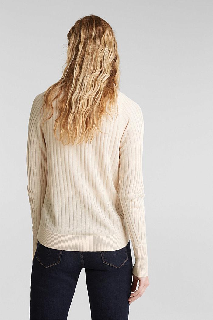 Linen blend: Rib knit cardigan, SAND, detail image number 3