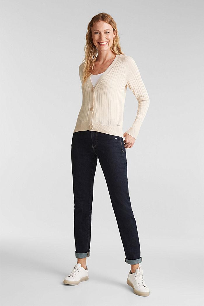 Linen blend: Rib knit cardigan, SAND, detail image number 1