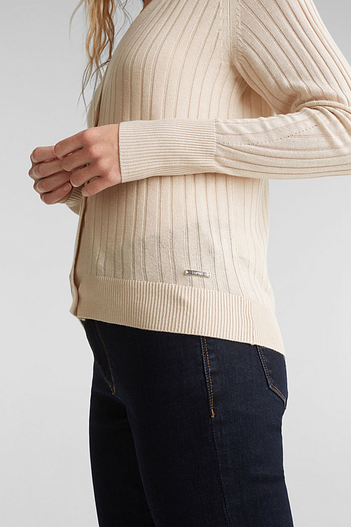 Linen blend: Rib knit cardigan, SAND, detail image number 2