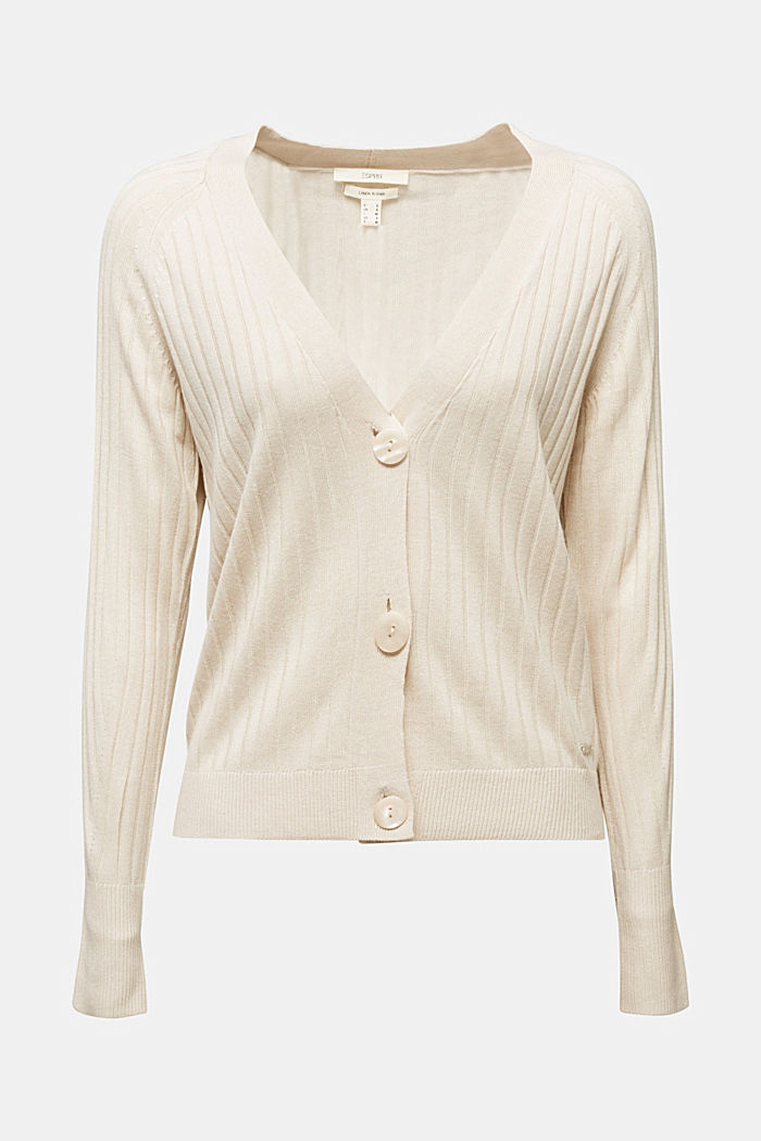 Linen blend: Rib knit cardigan, SAND, detail image number 5