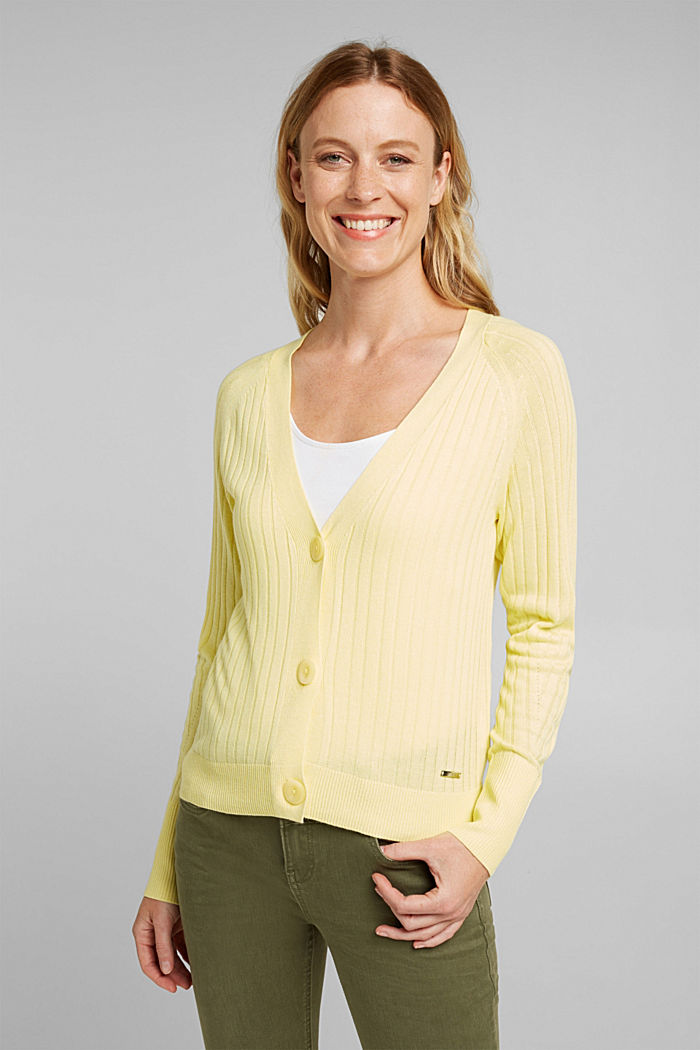 Linen blend: Rib knit cardigan, LIME YELLOW, detail image number 0