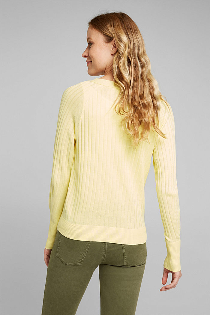 Linen blend: Rib knit cardigan, LIME YELLOW, detail image number 3