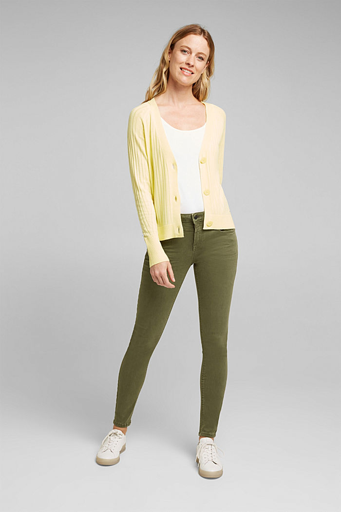Linen blend: Rib knit cardigan, LIME YELLOW, detail image number 5