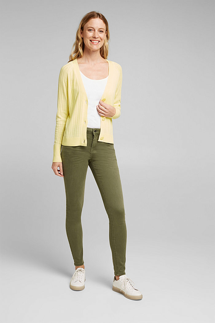 Linen blend: Rib knit cardigan, LIME YELLOW, detail image number 1
