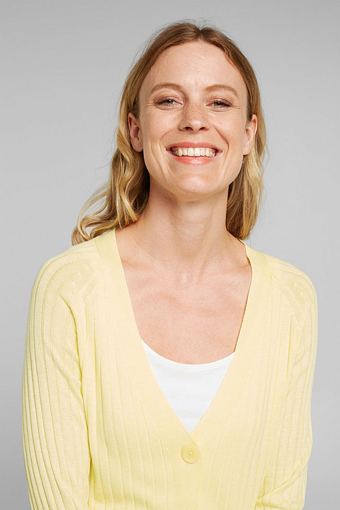 Linen blend: Rib knit cardigan, LIME YELLOW, detail image number 6