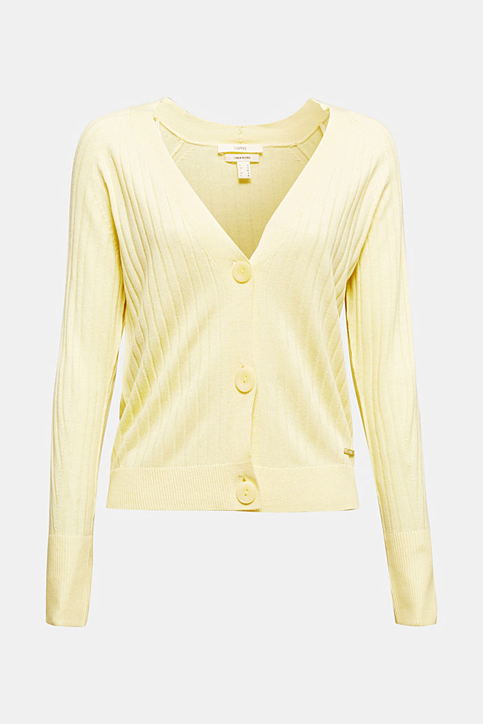 Linen blend: Rib knit cardigan, LIME YELLOW, detail image number 7
