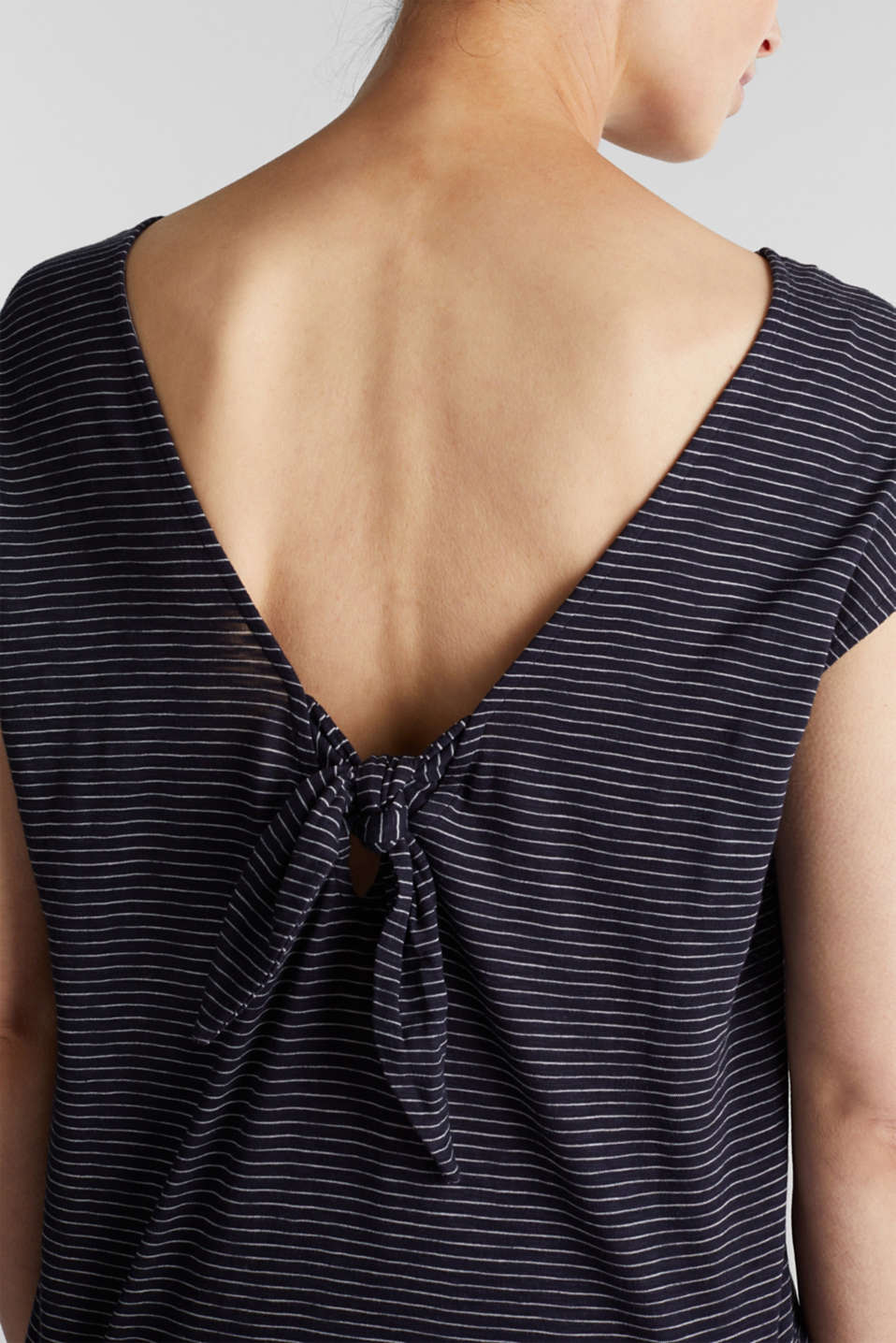 Top with a bow at the back, NAVY, detail image number 2