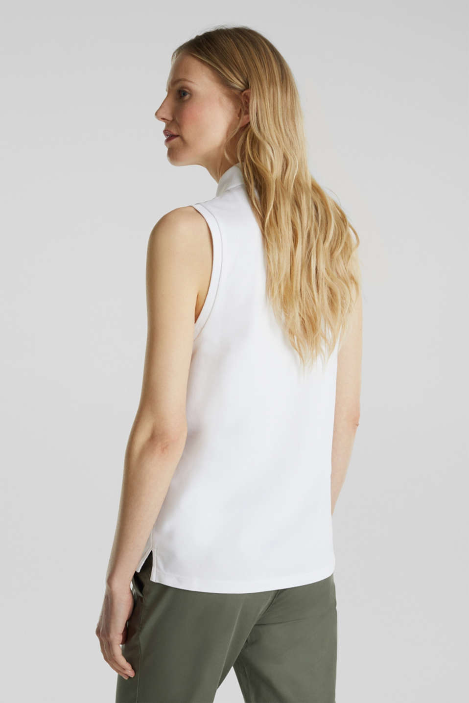 Sleeveless piqué stretch top, WHITE, detail image number 3