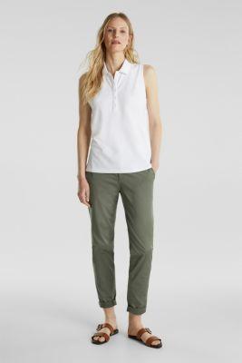 Sleeveless piqué stretch top, WHITE, detail