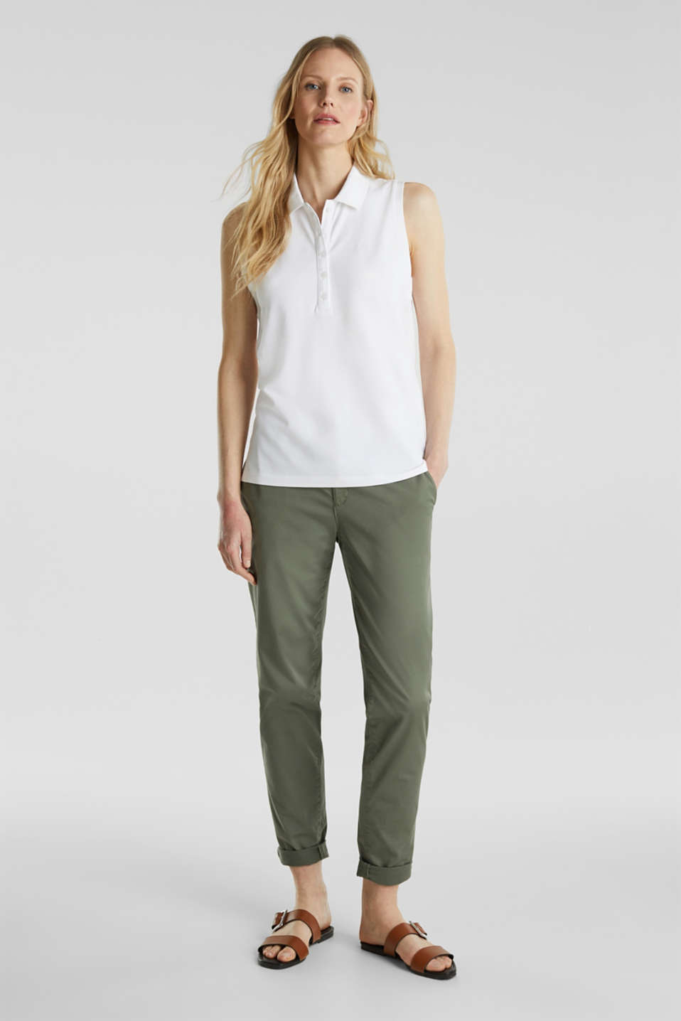 Sleeveless piqué stretch top, WHITE, detail image number 1