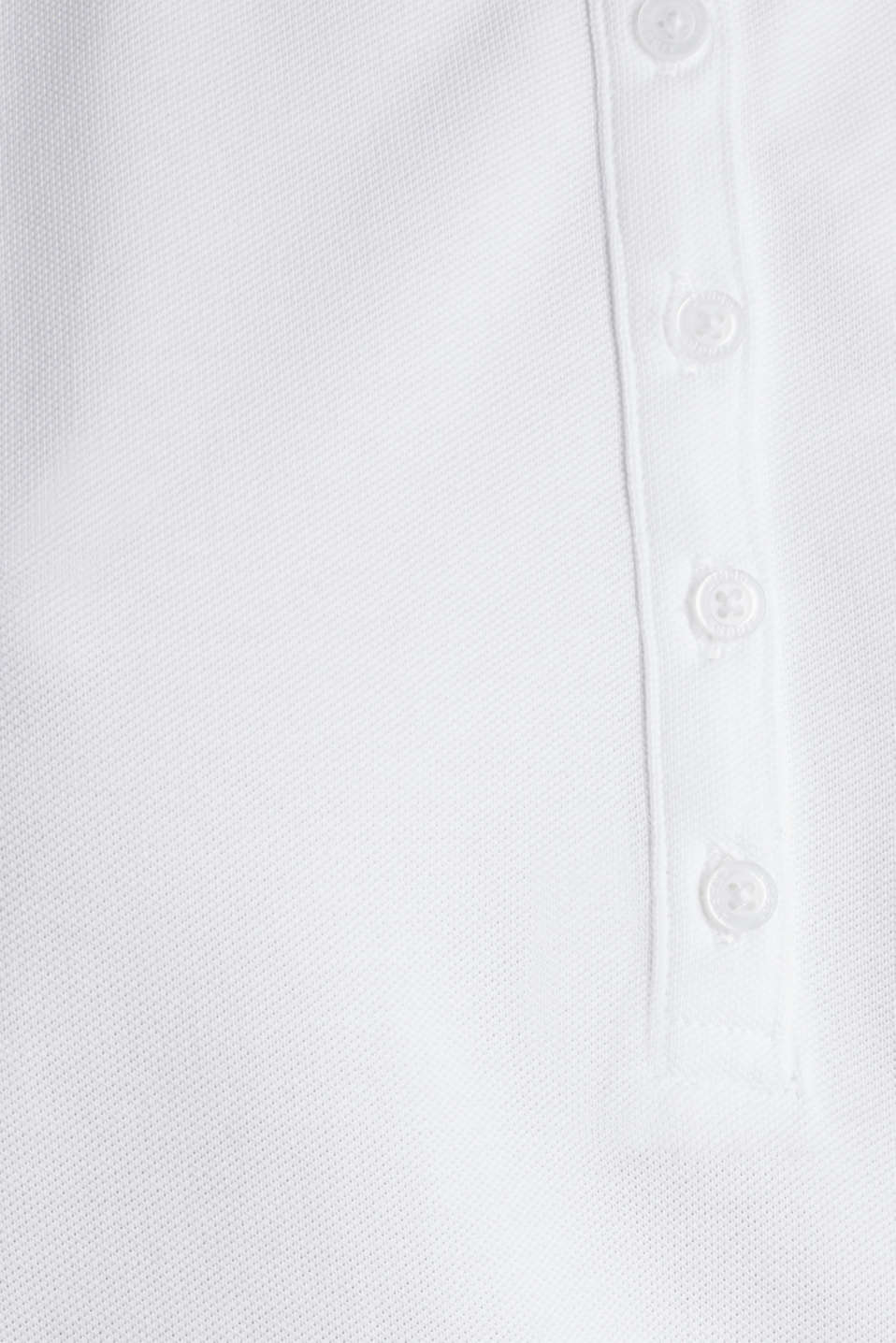 Sleeveless piqué stretch top, WHITE, detail image number 4