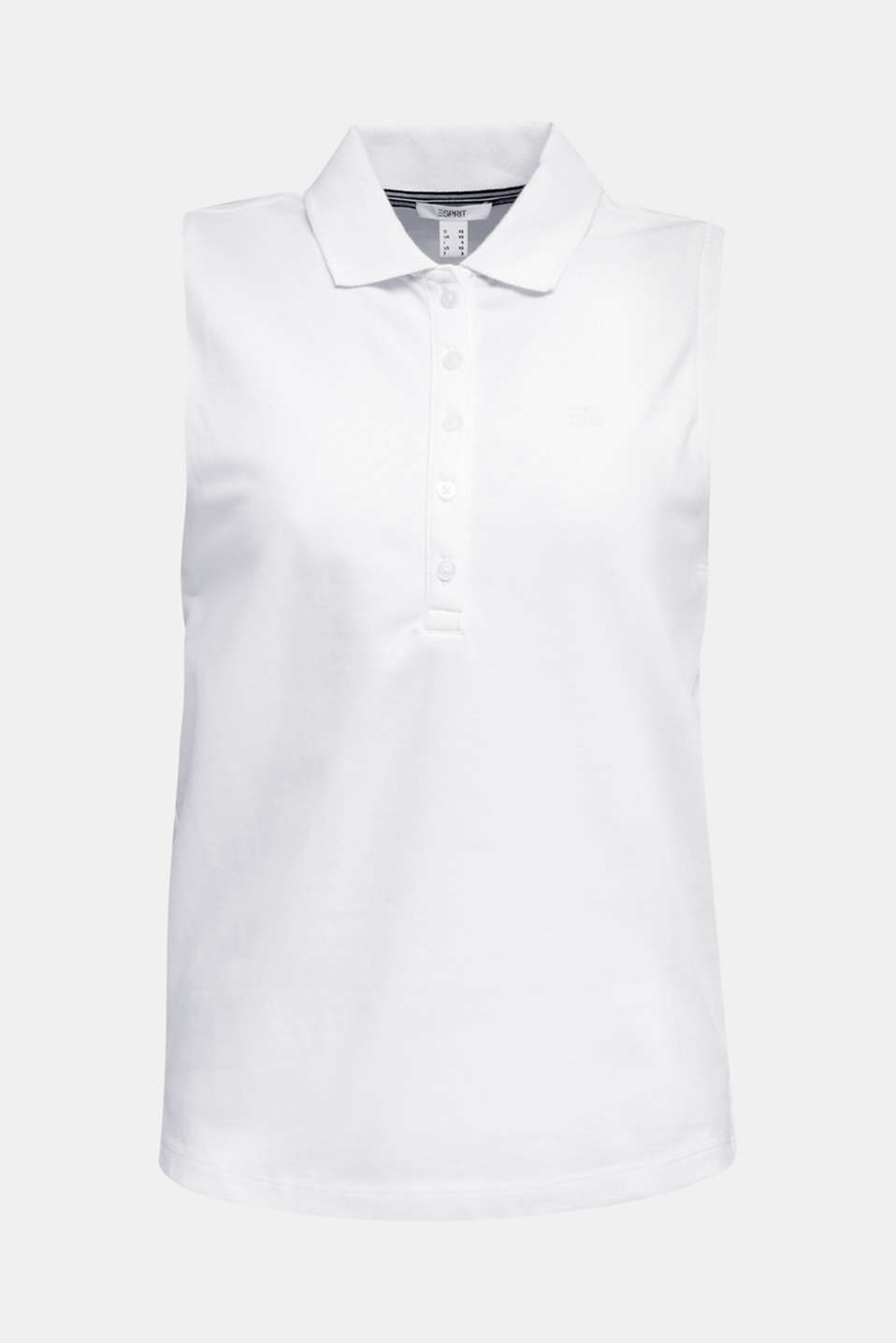 Sleeveless piqué stretch top, WHITE, detail image number 6