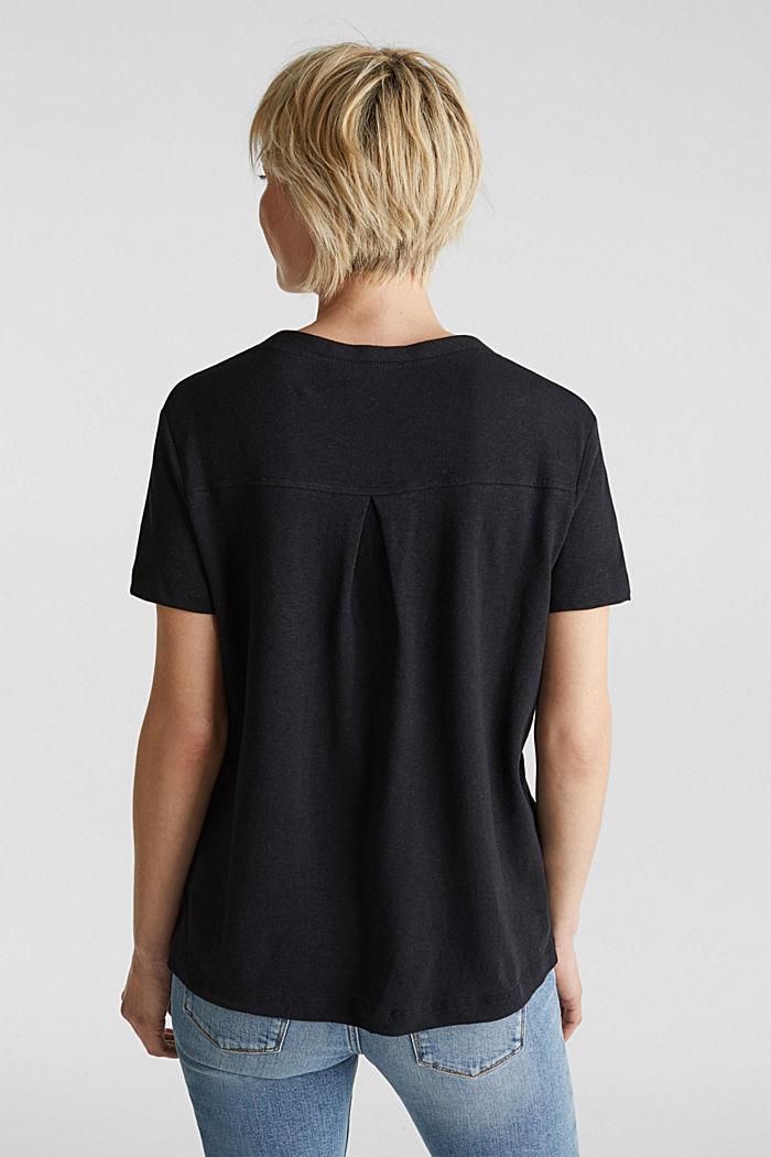 Aus Leinen-Mix: Henley-Shirt, BLACK, detail image number 3