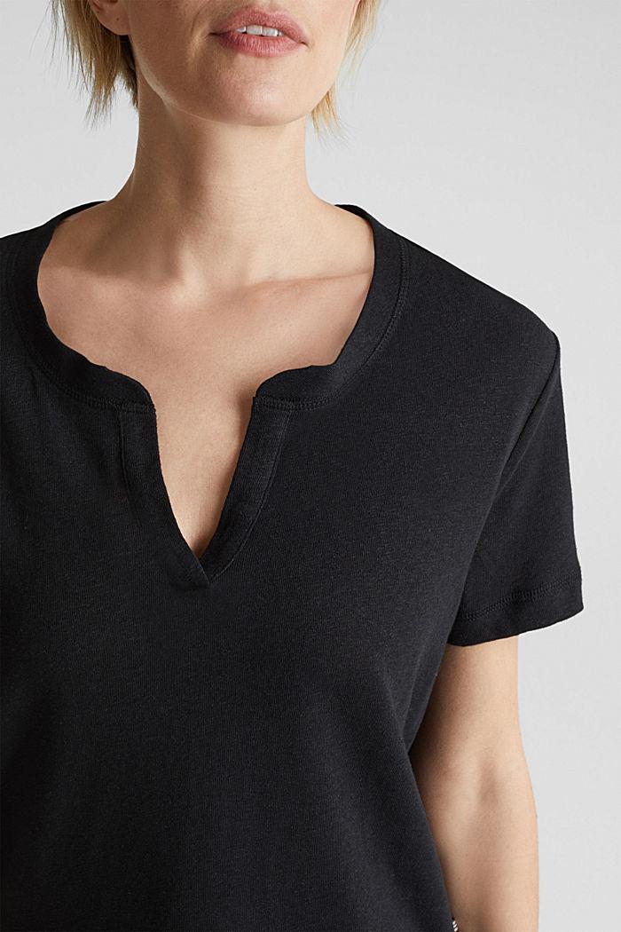Aus Leinen-Mix: Henley-Shirt, BLACK, detail image number 2