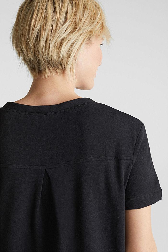 Aus Leinen-Mix: Henley-Shirt, BLACK, detail image number 6