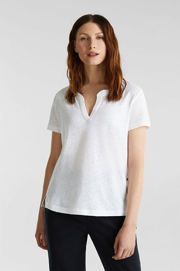 Van een linnenmix: henley shirt, WHITE, detail image number 0