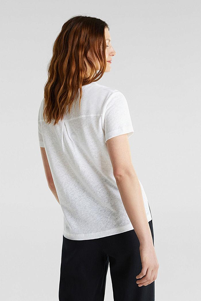 Van een linnenmix: henley shirt, WHITE, detail image number 3