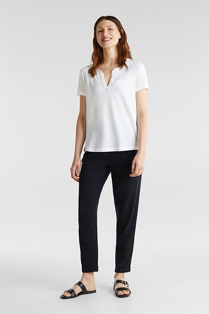 Van een linnenmix: henley shirt, WHITE, detail image number 1