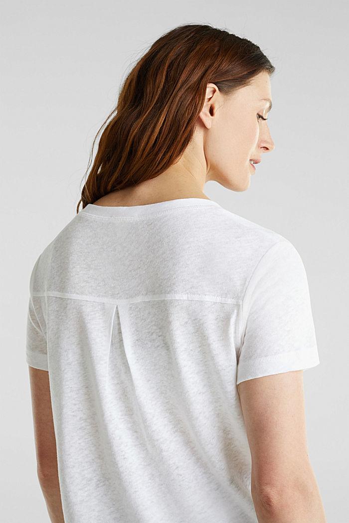 Van een linnenmix: henley shirt, WHITE, detail image number 2