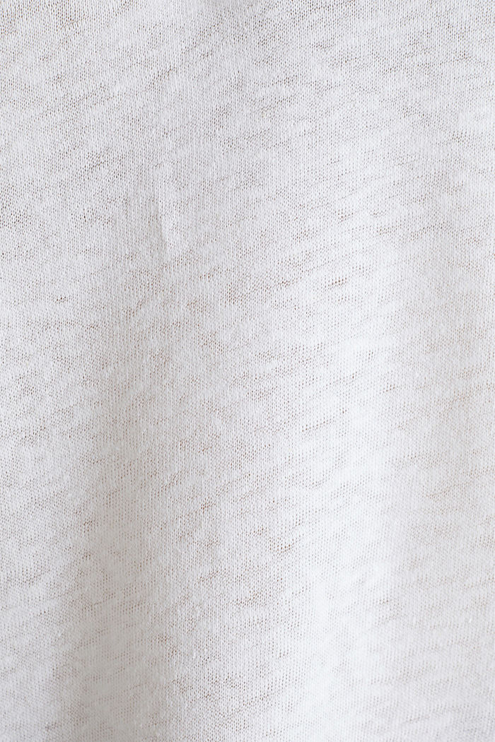 Van een linnenmix: henley shirt, WHITE, detail image number 4