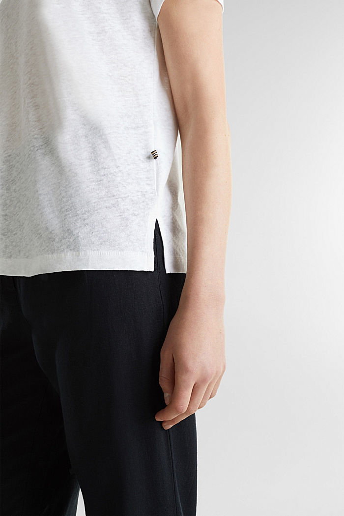Van een linnenmix: henley shirt, WHITE, detail image number 5
