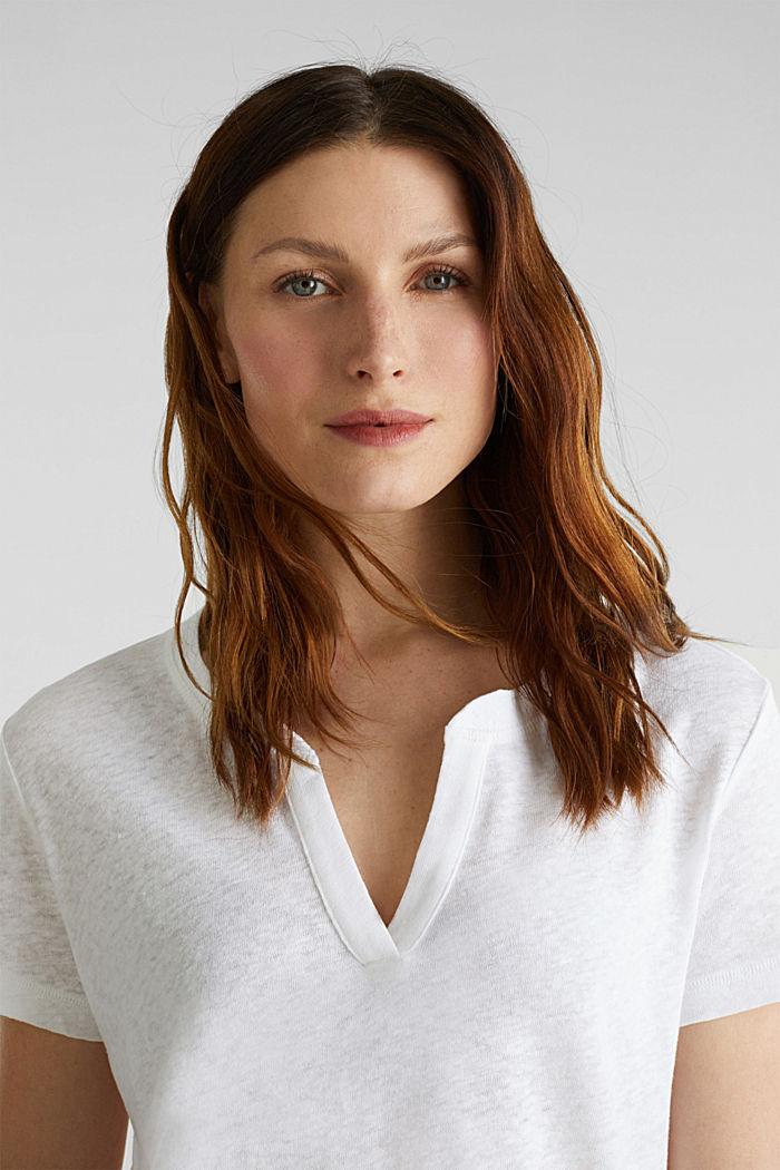 Van een linnenmix: henley shirt, WHITE, detail image number 6