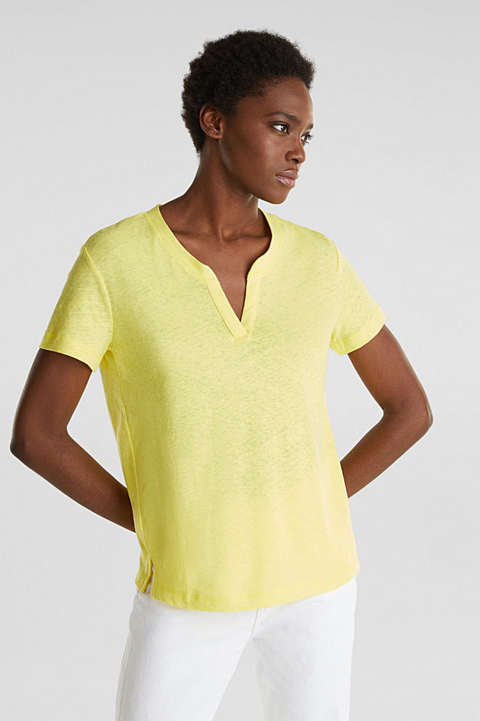 Linen blend: Henley top, BRIGHT YELLOW, detail image number 0