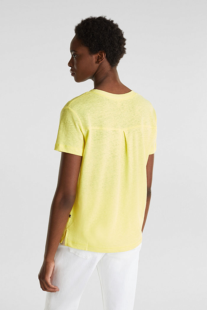 Linen blend: Henley top, BRIGHT YELLOW, detail image number 3