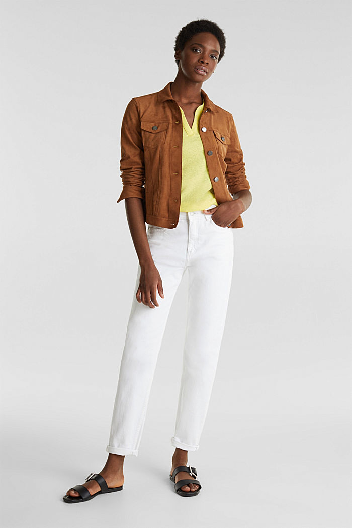 Linen blend: Henley top, BRIGHT YELLOW, detail image number 1