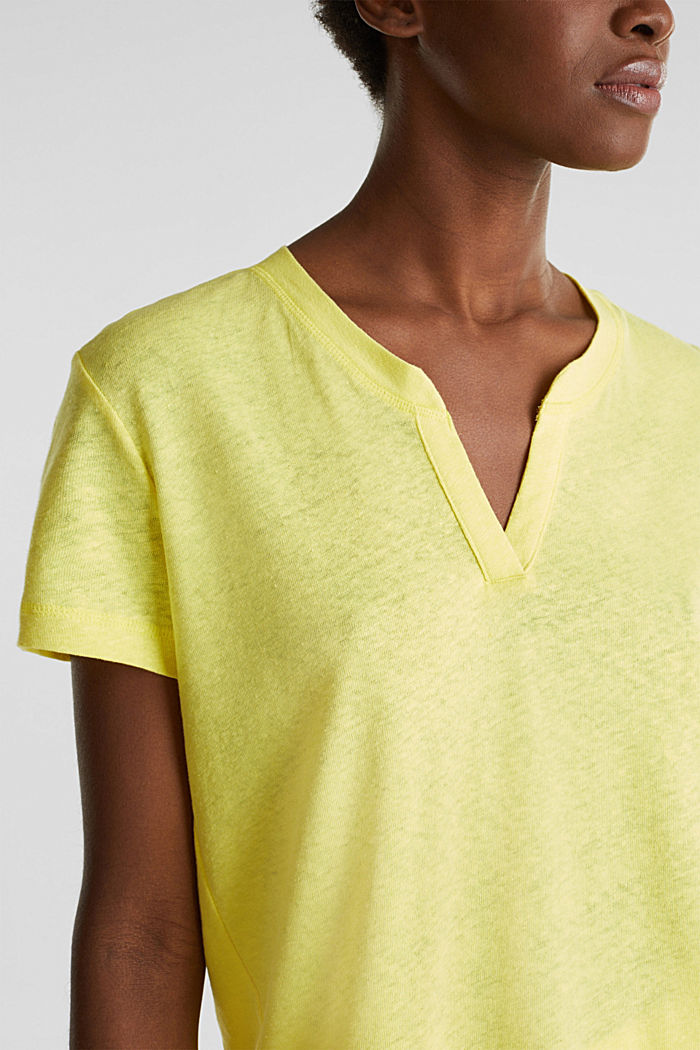 Linen blend: Henley top, BRIGHT YELLOW, detail image number 2