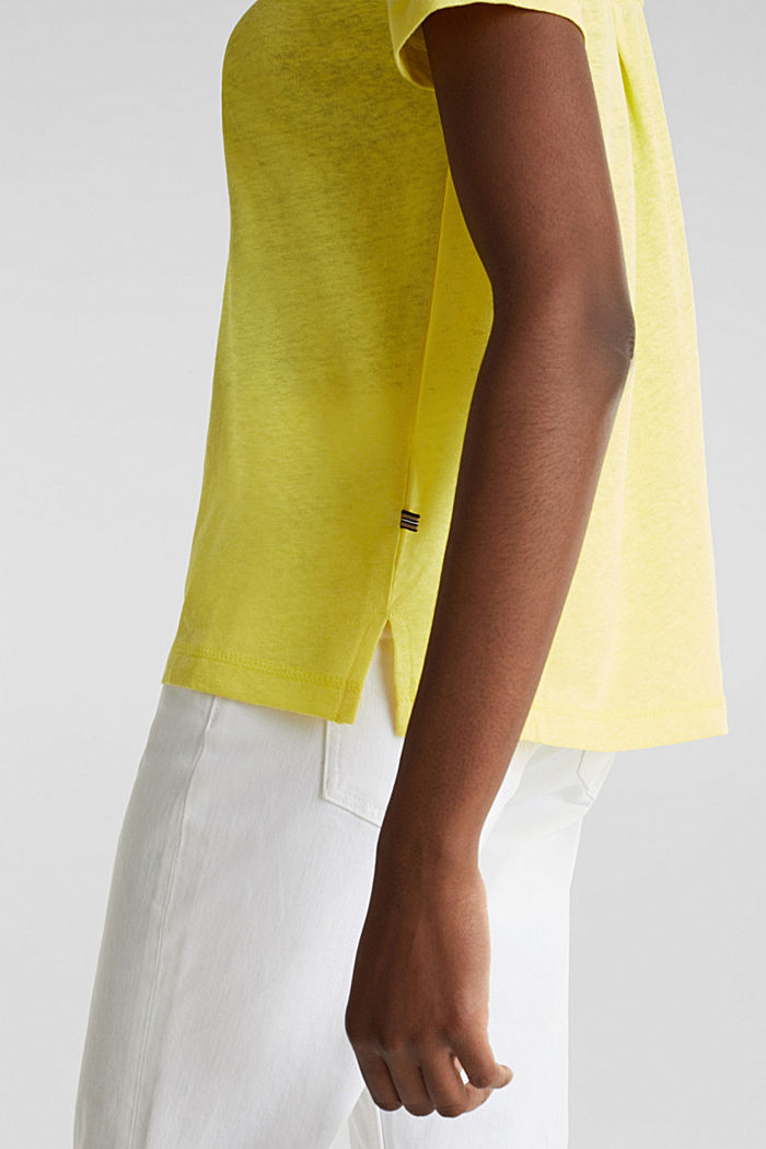 Linen blend: Henley top, BRIGHT YELLOW, detail image number 5