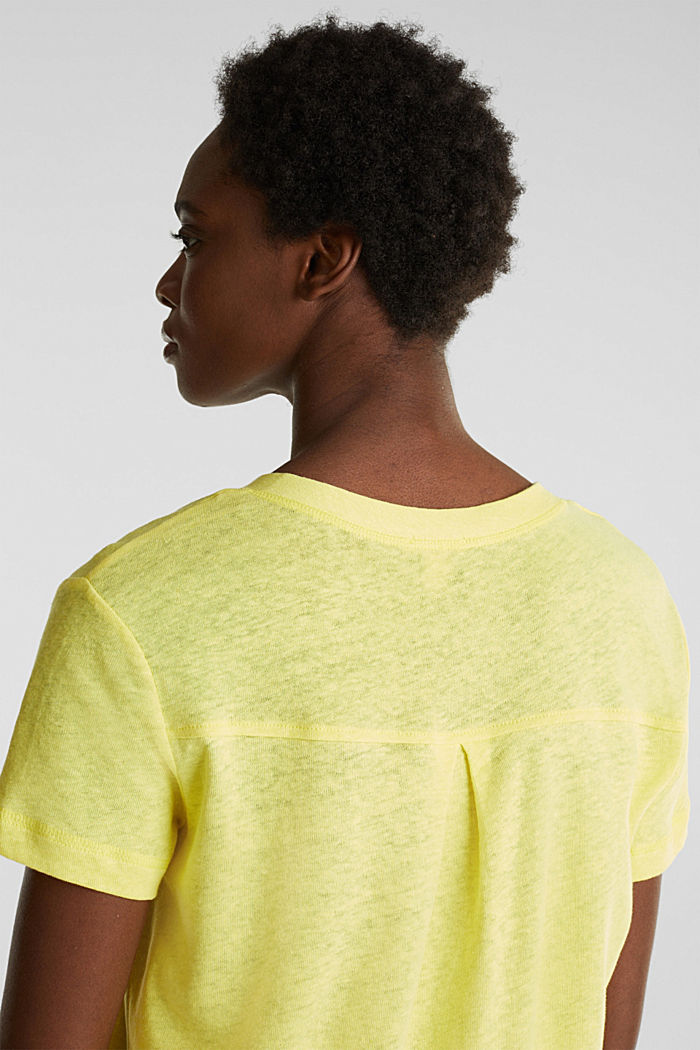 Linen blend: Henley top, BRIGHT YELLOW, detail image number 6