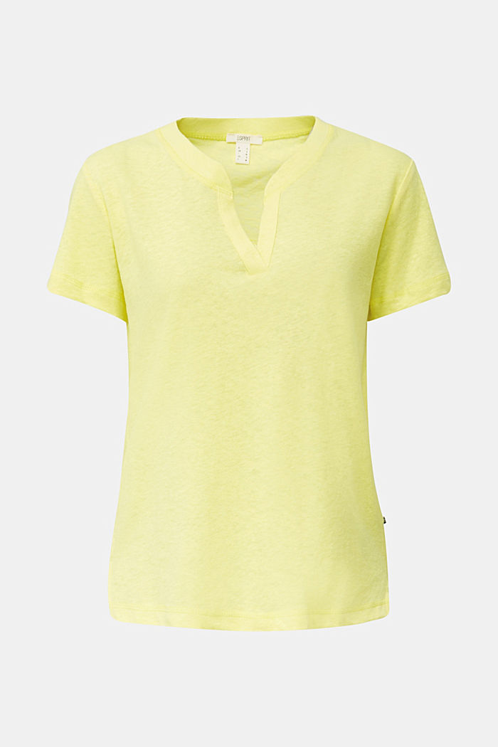 Linen blend: Henley top, BRIGHT YELLOW, detail image number 7