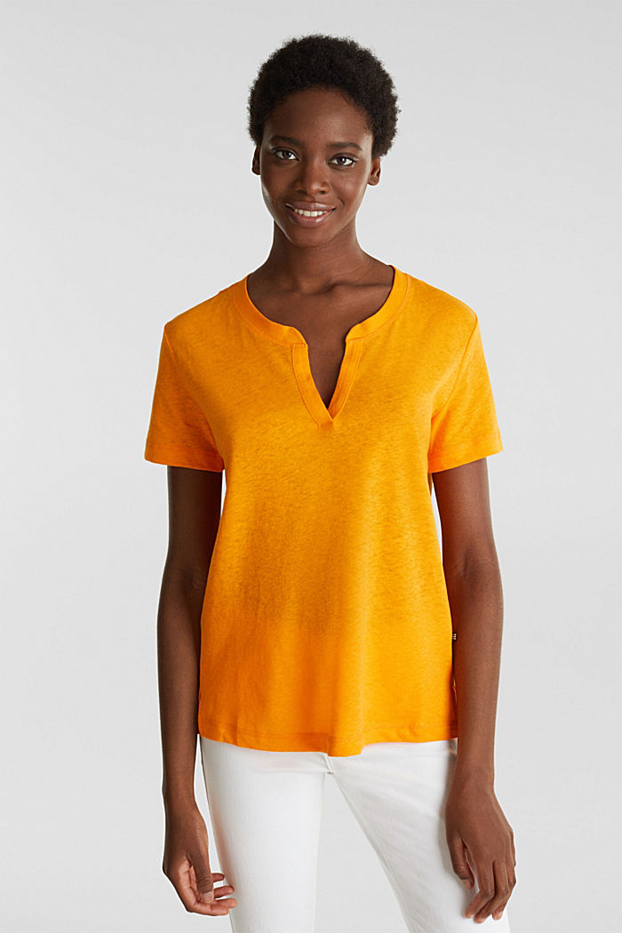 Linen blend: Henley top, ORANGE, detail image number 0