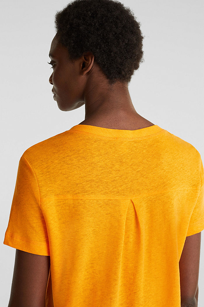 Linen blend: Henley top, ORANGE, detail image number 7