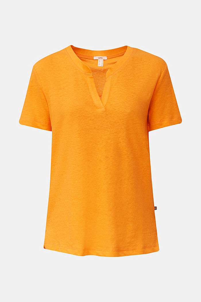 Linen blend: Henley top, ORANGE, detail image number 9