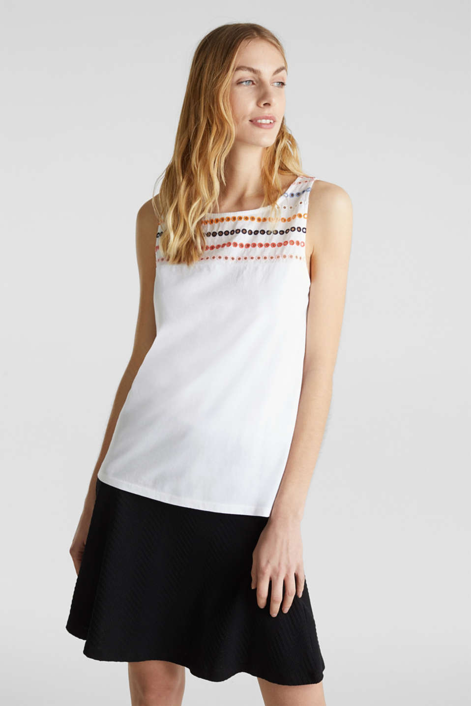 Top with embroidery, 100% cotton, WHITE, detail image number 0