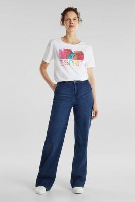 Printed T-shirt in 100% organic cotton, WHITE, detail