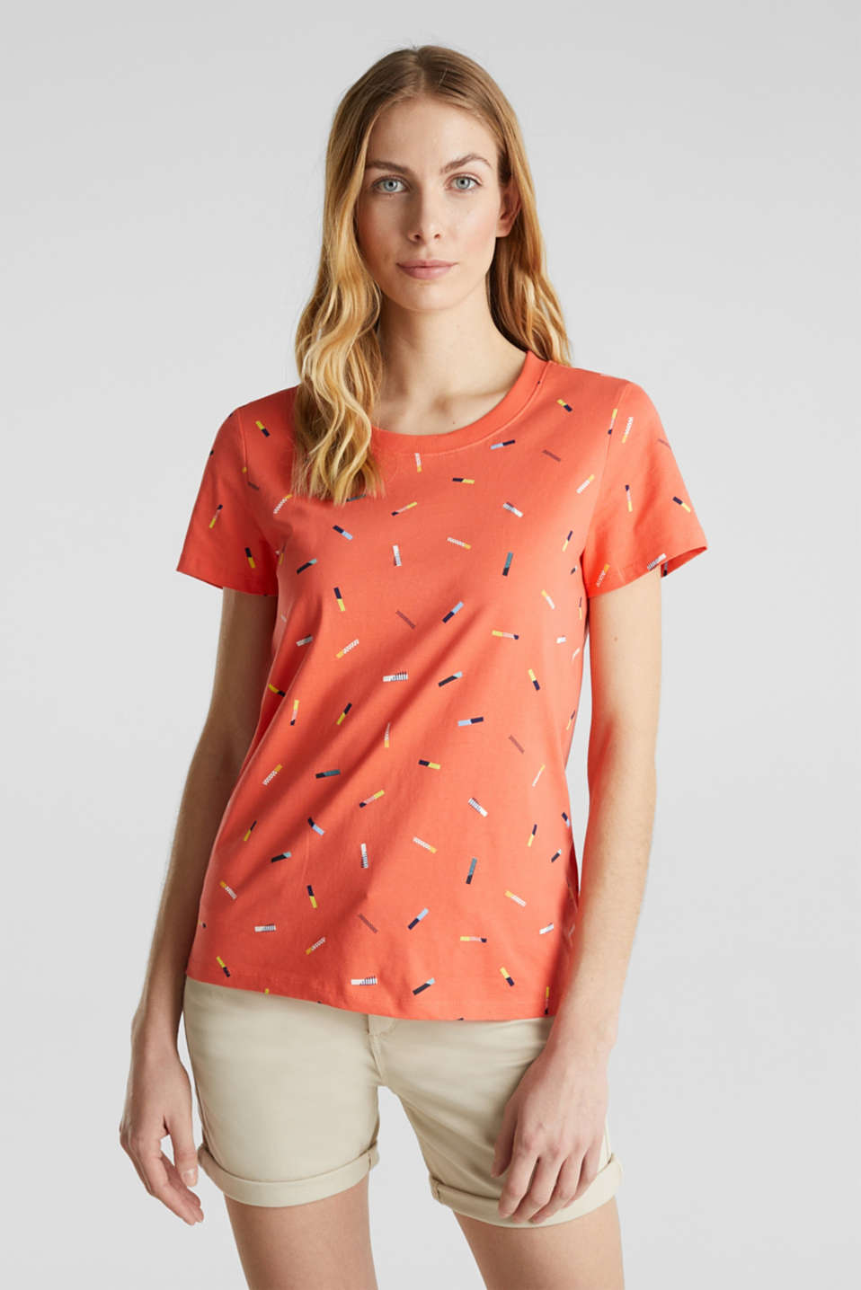 Print T-shirt in 100% cotton, CORAL, detail image number 0