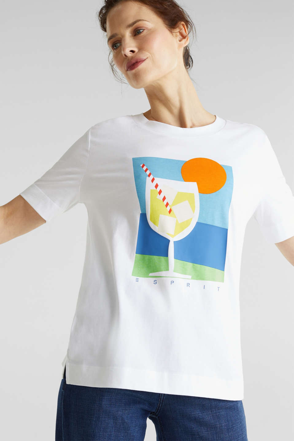 Printed T-shirt, 100% organic cotton, WHITE, detail image number 0