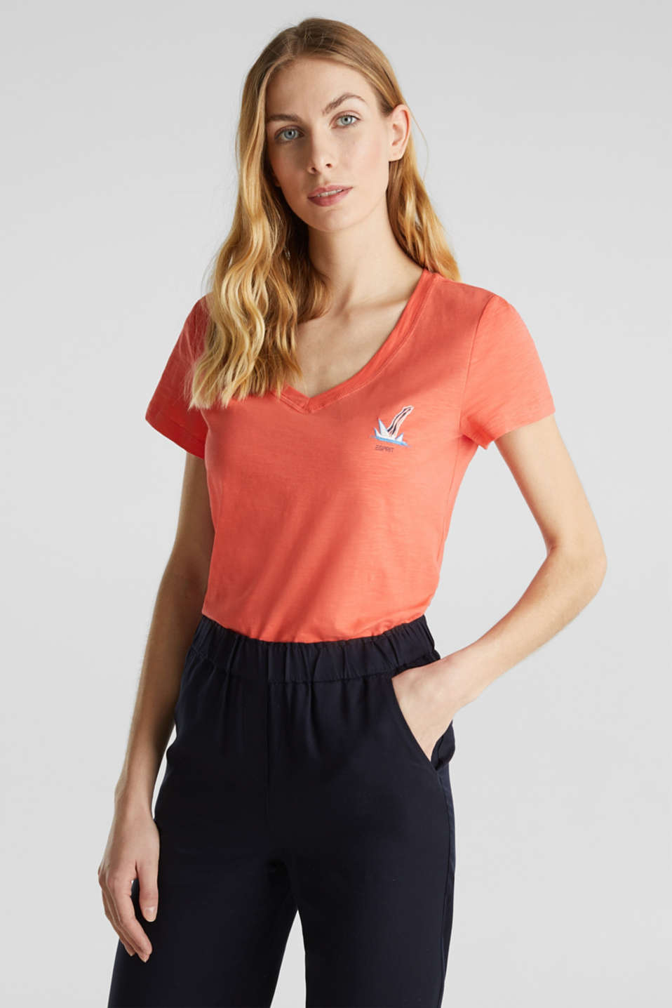 Embroidered top, 100% organic cotton, CORAL, detail image number 0