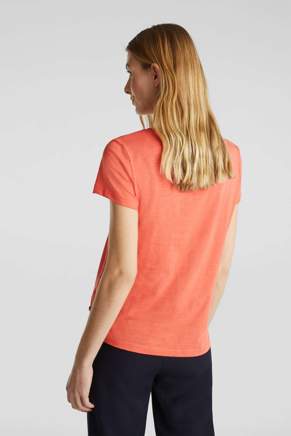 Embroidered top, 100% organic cotton, CORAL, detail image number 3