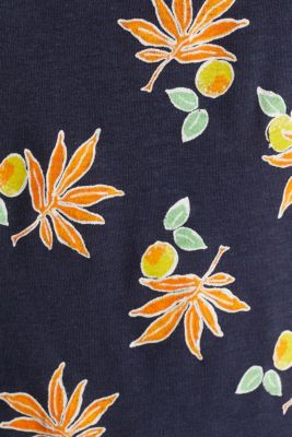 T-shirt with linen and organic cotton, NAVY, detail