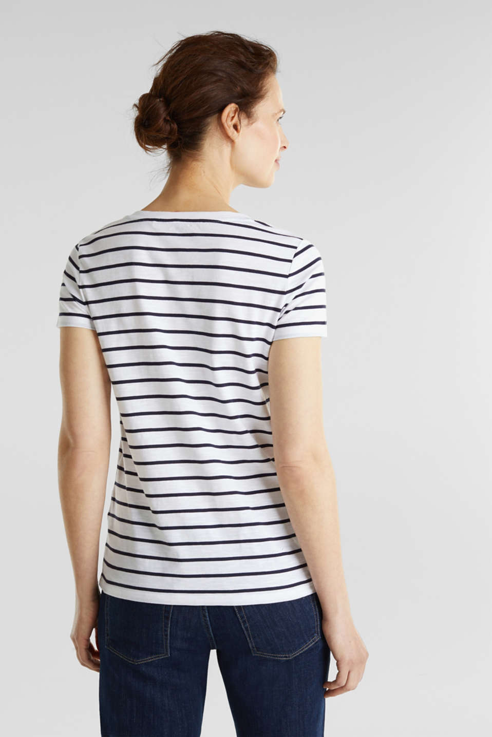 Striped top, 100% organic cotton, NAVY, detail image number 3