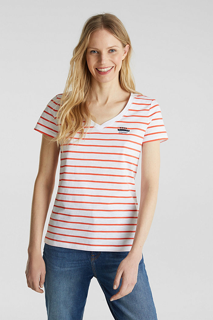Striped top, 100% organic cotton, CORAL, detail image number 0