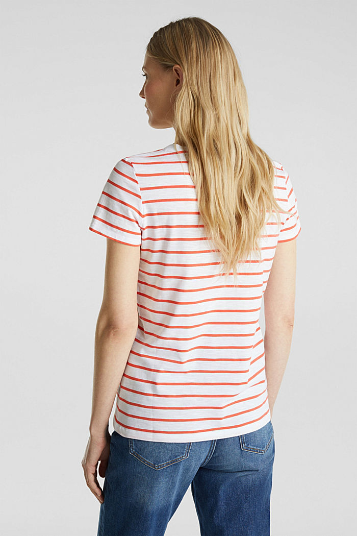 Striped top, 100% organic cotton, CORAL, detail image number 3